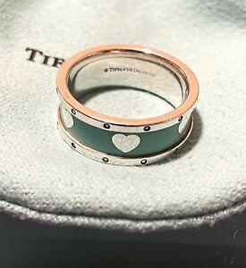 Tiffany & Co. Return to Tiffany Silver 925 Blue Enamel Heart Love Band Ring Sz 8