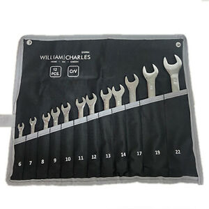 12pc Fully Polished Metric Combination Spanner Wrench Set 6mm - 22mm CrV Steel