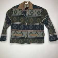 Woolrich Wool Cost Aztec Jacket Green Blue Suede Leather Button Front Sz Small