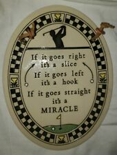 """genuine Trinity Pottery Ceramic 7"""" Oval  handcrafted wall golf miracle plaque"""