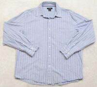 GNW Dress Shirt Large Long Sleeve Cotton Men's Blue Striped Great Northwest Top