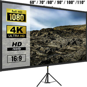 """VEVOR Tripod Projector Screen with Stand 60""""/70""""/80""""/90""""/100""""/110"""" 4K HD 16:9"""