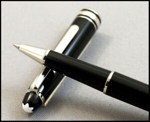 MINT MONTBLANC MEISTERSTUCK CLASSIC ROLLER PEN BLACK AND PLATINUM IN BOX