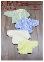 CROCHET PATTERN for LOOPY BABY JACKET CARDIGAN 4 sizes #220 NOT CLOTHES