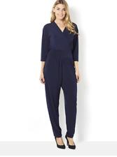 Kim & Co Brazil Knit V-Neck 3/4 Sleeve Jumpsuit Navy XL