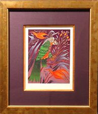 """Yuri Gorbachev """"Green Parrot On Red Flower"""" Signed & Numbered Serigraph, Russia"""