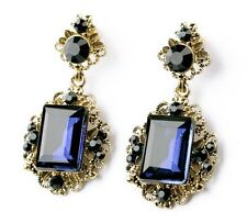 WHE654 White Chapel Bridal Victorian Blue Gem Sapphire Wedding Crystal Earrings