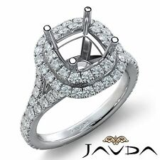 French Cut Halo Diamond Engagement Ring Cushion Semi Mount 18k White Gold 1.4Ct