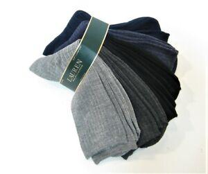 6 PR Ralph Lauren Ladies Trouser Socks Solid Rib Asst Grey Black Blue - NEW