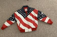 New listing Michael Hoban Wheremi Red White Blue Patriotic American Flag Leather Jacket