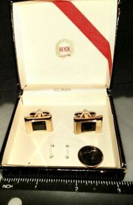 Hickock Vintage Boxed Cuff Links No Tie Bar  Gold Tone with Black Center