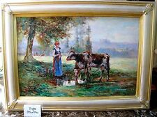 """Quality Framed Oil- FR. PASTORAL LANDSCAPE: """"FARM GIRL with COWS"""" by  Burchfield"""