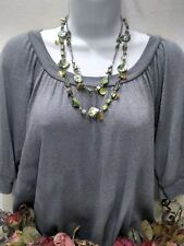 Green Glass & Dyed Green & Silver Colored Mother Of Pearl Necklace FREE SHIP