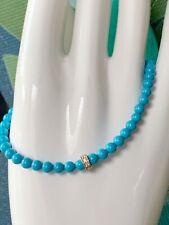 "Sydney Evan 4mm Blue Turquoise 14K Yellow Gold Diamond 7"" Stretch Bracelet $530"