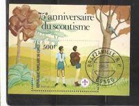 Congo Republic SC # 635 &5th Anniversary Boy scouts, Souvenir Sheet . CTO- MNH