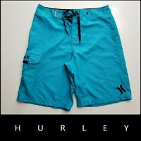 Hurley Men Casual Outdoor Flat Front Cargo Board Shorts Size 30 Blue