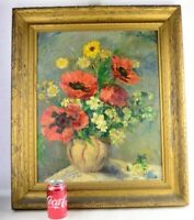 """Old Still Life Wild Poppy Flowers Oil Painting Canvas on Board Signed 28"""""""