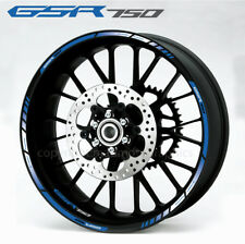 Suzuki GS-R 750 wheel decals stickers set gsr750 rim stripe gsr Laminated blue