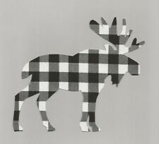 Moose Iron On Fabric Applique (White  and Black  Plaid)