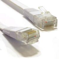 6m Plat CAT6 Ethernet Lan Câble de Raccordement Ultra Gigabit RJ45 Blanc