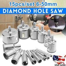15 pcs Diamond Coated Drill Bit Set 6-50mm Hole Saw Cutter Metal Tool Glass Tile