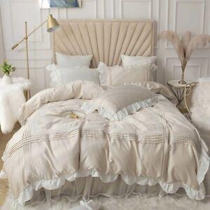 Princess Bedding Sets Cotton Lace Bedspread  Ruffle Duvet Cover Bed Skirt Linen