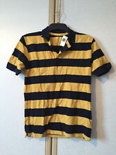 GAP Boys Navy Blue & Yellow Striped Short Sleeve Polo Shirt Size Age 13 XL BNWT