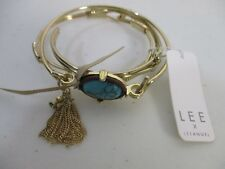 Lee By Lee Angel Gold Wire 3 Layer Charm Tassel Turq Bracelet Set of 3 NWT $98