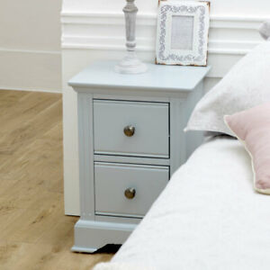 Slim Grey Bedside Table storage painted wooden vintage rustic modern decor