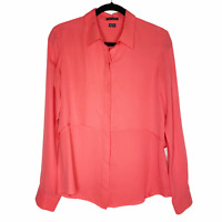 Theory Women's Silk Blouse Button Down Top Long Sleeve Shirt Medium Coral