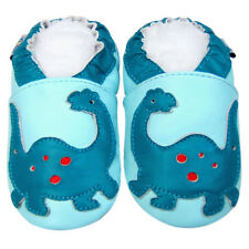 Littleoneshoes Soft Sole Leather Baby Infant Children DinosaurBlue Shoes 12-18M