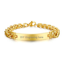 """8.5"""" Gold Plate Men ID Bracelet Chain Wristband Free Engraving Stainless Steel"""