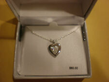 STERLING SILVER HEART LOCKET WITH CLEAR CRYSTALS NECKLACE NEW IN BOX