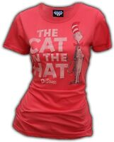 Juniors Ladies Book Junk Food Dr. Seuss Cat in the Hat Red Punch T-Shirt Tee