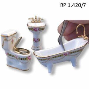 1:24 Scale Dresden Rose 3pc Bathroom DOLLHOUSE MINIATURES Reutter