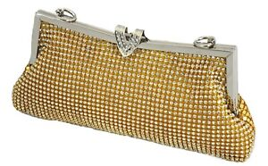 Gold Crystal Diamante Gem Diamond Evening bag Clutch Purse Party Prom Christmas