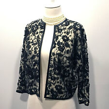 Vintage Black Lace Hand Beaded Ivory Lambswool Cardigan– Size M