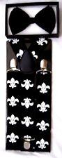 Black Tuxedo Bow Tie & Fleur de lis Design New Orleans Saints Y-Back Suspenders