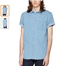 NEW LOOK MENS DENIM MID BLUE SHORT SLEEVE SHIRT; RRP £17.99; BRAND NEW WITH TAGS