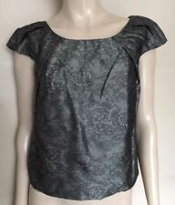 BEHNAZ SARAFPOUR,Made in USA,50%Silk,50%Polyester,Lace Print,Grey/Black Top,Sz 4
