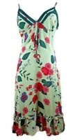 Alannah Hill Sheer Green Floral Silk Slip Cocktail Summer Party Dress Size 10