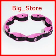 Yoga Pull Strap Gym Fitness Resistance Elastic Band Loop Pink Black For Workout