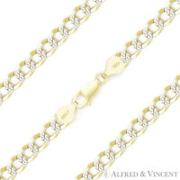 5mm Curb Cuban Link .925 Sterling Silver w/ 14k Yellow Gold Italy Chain Bracelet