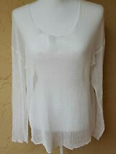 Michael Stars Cotton White Mesh Fishnet Long Sleeve Top One Size Beach Cover up