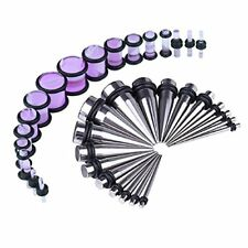 36PCS Gauges Kit Stainless Steel Tapers Purple Plugs 14G-00G Ear Stretching Set