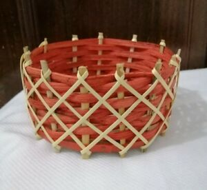 Round Shaped Reeds and Rattans Red Basket Handmade Natural Eco Friendly Décor