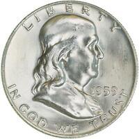 1959 D Franklin Half Dollar 90% Silver BU US Coin