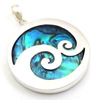 Natural Blue Paua Abalone Shell 925 Sterling Silver Pendant Women Jewelry SF052