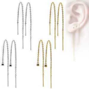 Women's Stainless Steel Earrings Threader Chains Surgical Z527