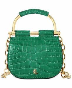 Lauren Ralph Lauren Evergreen Mason Croc-Embossed Leather Satchel Belt Bag